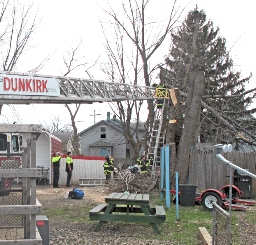 Fire Chief Michael Edwards recalled 2017 as one for the books for four major incidents: A man pinned by a tree on April 12 (pictured), a fire at the old school at 151 King Street on Aug. 2, a chemical fire at the steel plant on Sept. 10 and a fire at the Steger Apartments on Dec. 28. P-Jfile photo