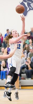 Panama's Natalie Angeletti reaches the 1,000-point mark with this bucket in the fourth quarter of Saturday's non-league game against Hamburg. Photo by Deb Bailey