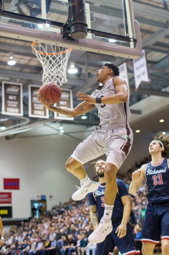 Jaylen Adams drives to the basket on his way to 24 points, which gave him 1,741 points for his career. That total ranks seventh all-time at St. Bonaventure. P-J photo by Tim Frank