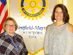 Bryna Booth, Sherman Central School District principal, pictured at right, was introduced as the guest presenter by Mary Swanson, Club President-Elect, at the Feb. 6 Rotary Club of Westfield-Mayville meeting in Westfield. Booth shared personal stories about some of the students, the effects of poverty on them, and what she and others in this school district are doing to assist the students and help them to succeed.  Submitted photo