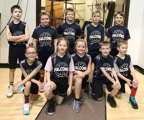 Members of the Falconer Little Hoopers program recently played at halftime of a St. Bonaventure men's basketball game at the Reilly Center. In the front row, from the left, are Kenley Lincoln, Emily Rhinehart, Kennedy Lindquist, Chase Bianco and Chase Fuller. In the back row are Max Parmentier, Zavyer Mayr, Erik Stenstrom, Donovan Delaney, Nathyn Gilbert. Submitted photo