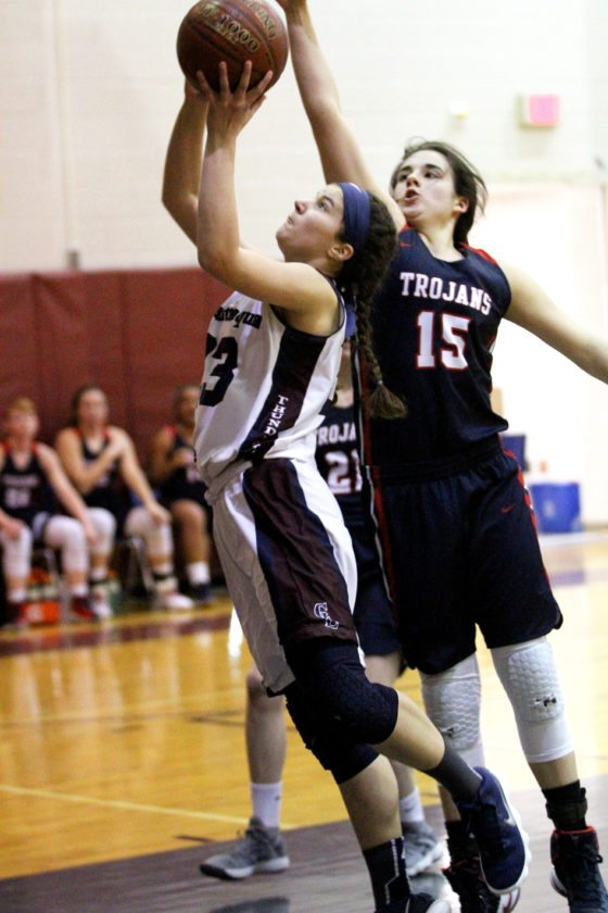 Chautauqua Lake's Lily Woodis (33) tries to score in front of Southwestern's Sofia Genareo (15) during their CCAA Division 1 West girls basketball game Monday in Mayville. P-J photo by Lisa Monacelli