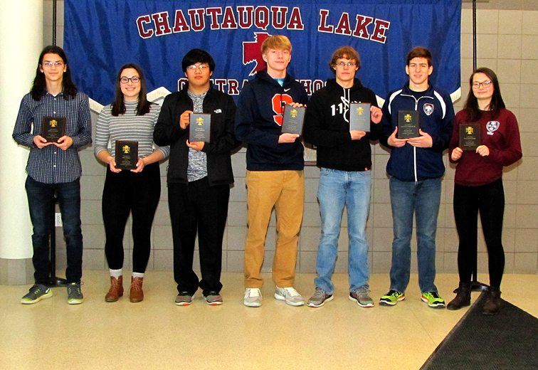 Scholar-Athletes for fall sports were recently honored at Chautauqua Lake Central School, when the students received plaques courtesy of the Thunderbird Athletic Club. From left are All-Western New York Scholar Athletes from soccer, Joshua Janicki and Sara Corwin; and honorable-mention recipients from football, Sten Homme, Collin Wood, Dustin McCaslin and Sebastian Hardenburg, and from soccer, Hannah Gilmore. Not shown is Sara Godfrey, named an All-WNY Scholar Athlete for swimming. Submitted photo