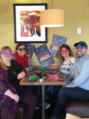 The Community Helping Hands 80's Rewind Party planning committee members are busy making preparations for this year's signature annual fundraiser to be held on March 3 at Chautauqua Inn and Suites in Mayville. Pictured from left are Bonnie Kyle; Amanda Geising; Jade Kingsbury, Community Helping Hands board secretary; and Scott Mekus of Eventz by Scott.