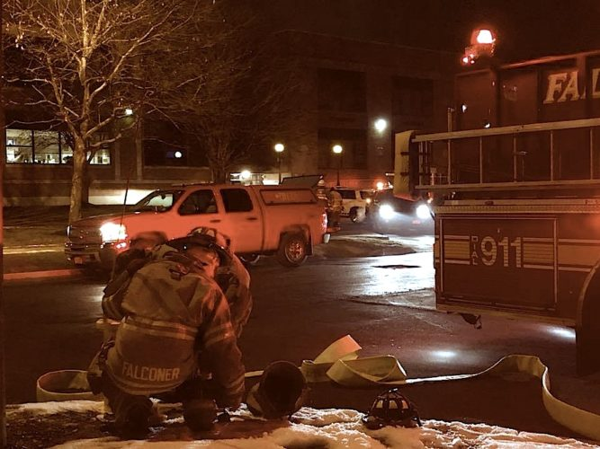 Spontaneous combustion of mineral oil-soaked rags was the cause of a small fire early Thursday at Falconer Central School. No damage was reported at the school, which had a two-hour delay to clear the smoke.  P-J photo by Eric Tichy