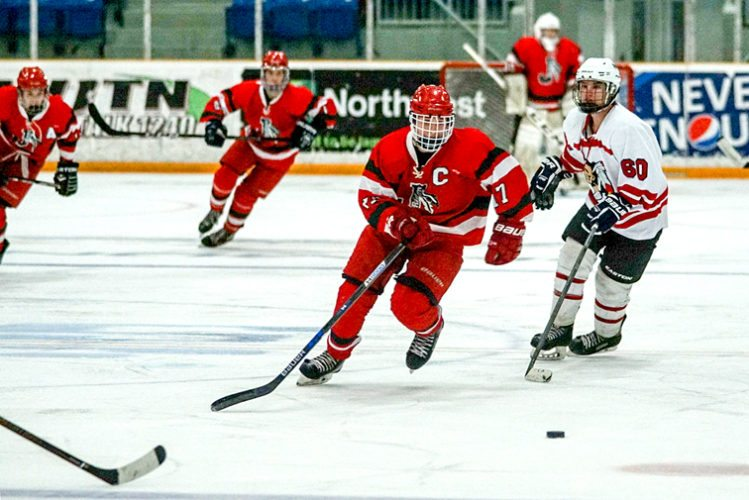 Jamestown's Jacob Gerace chases the puck Friday night at Northwest Arena. P-J photo by Chad Ecklof
