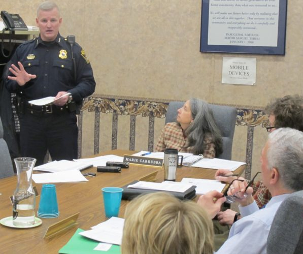 Harry Snellings, Jamestown Police Department chief and city public safety director, gives a presentation to the Jamestown City Council on crime statistics. Snellings presented the report in response to comments made by Mike Laurin, who unsuccessfully ran for the council. Snellings said Laurin's comments didn't provide the full picture when it comes to crime statistics in the city. P-J photo by Dennis Phillips