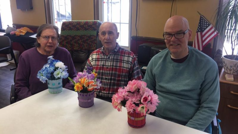 Donald Vuckovich, Patricia Palmer and Eugene Cotter show off their projects they made at the Present Center. The Present Center is part of Chautauqua Adult Day Services and is celebrating 20 years in operation.  Submitted photo