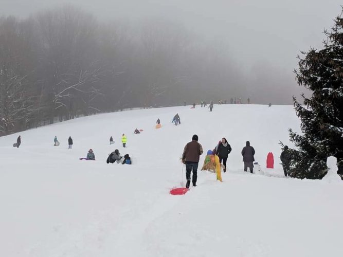 Families enjoyed sledding during the Cassadaga Winter Festival. Submitted photo