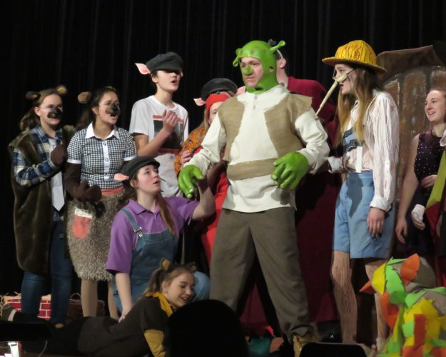 "Randolph Central School will host a student production of ""Shrek the Musical"" from Thursday to Saturday. Shown are cast members onstage at the high school auditorium during a rehearsal: Standing, left to right: Haleigh Smith, Lavani Johnson, Jordan Dubuque, Chase Smallback, Elaina James, Corin Carpenter. (Kneeling, Aspen Hawkins. Laying down, Caliana Wheeler and Loganne Bushey.) Photo by Deb Everts"