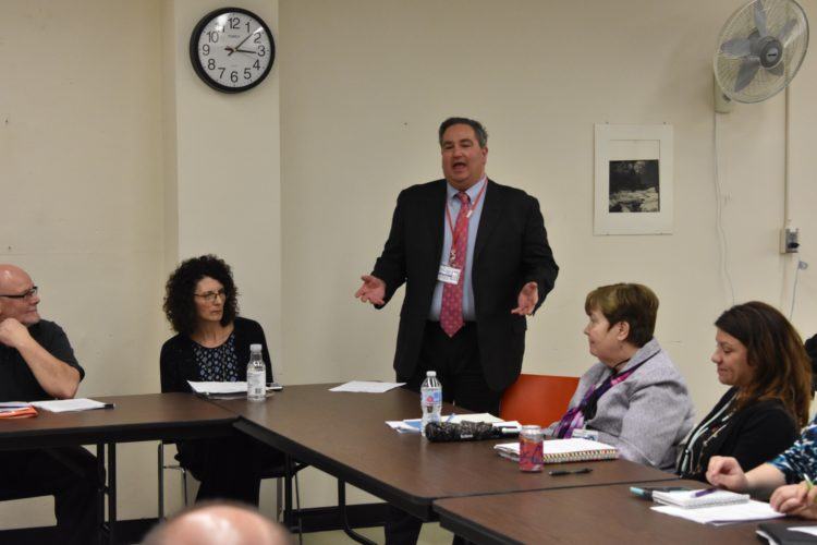 Chautauqua County Executive George Borrello speaks Wednesday during a meeting of the Community Justice Council. Borrello said he is following through on a proposal to create a countywide anti-drug program.  P-J photo by Jordan W. Patterson