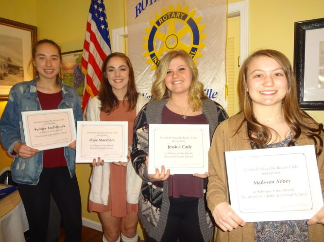 "Given the distinction of being named as ""Scholars of the Month"" for February by the Rotary Club of Westfield-Mayville at its Feb. 13 meeting at The Parkview in Westfield were seniors (l. to r.) Sydney Lachajczyk, Chautauqua Lake CSD; Elyse Markham, Brocton CSD; Jessica Cady, Sherman CSD; and Madyson Abbey, Westfield Academy & CSD."