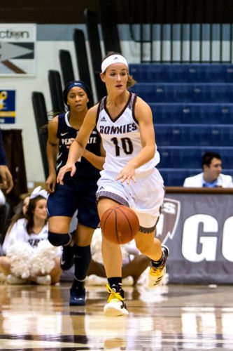 In this file photo, St. Bonaventure's Mckenna Maycock dribbles down the court at the Reilly Center earlier this season. P-J file photo