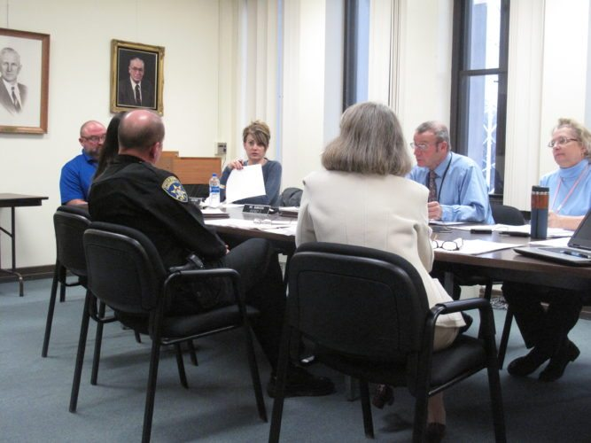 The Legislative Public Safety Committee reviewed an amendment for the 2017 budget for year end reconciliations  from the Office of the Sheriff, which drew questions from Legislature Chairman PJ Wendel and Committee Chairman Terry Niebels P-J photo by Katrina Fuller