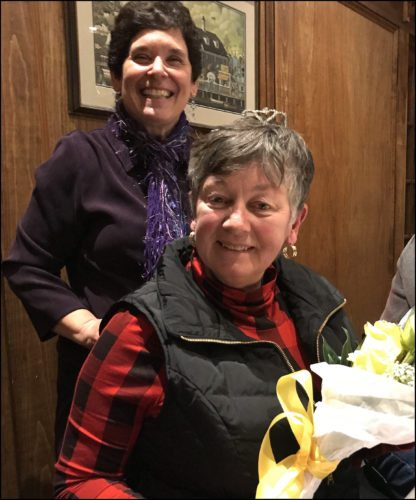 On February 10, Theta Beta crowned Nancy Palmer as its 2018 Queen. Presenting Mrs. Palmer with the crown and yellow roses is last year's recipient, Mary Rogers.