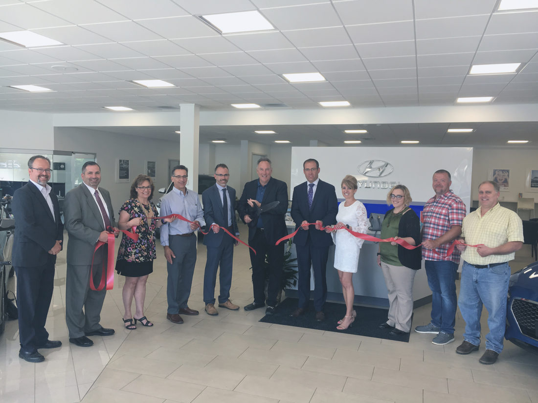 From left, Todd Tranum, Chautauqua County Chamber of Commerce chief executive officer; Scott Goldstone, Hyundai Motor of America; Cara Birrittieri, ...