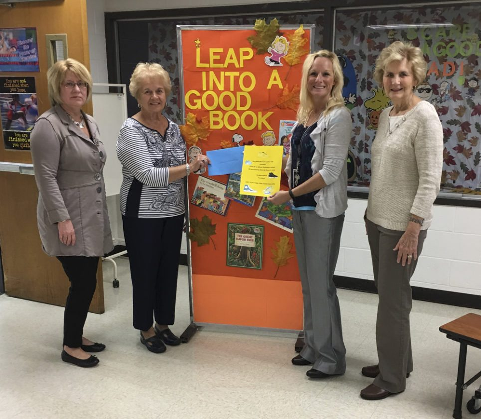 Point Pleasant Ladies Aide presented a monetary donation to A.T. Allison Elementary School to purchase needed shoes for students. Pictured (from left): Vice-President Lisa Subrick, President Carolyn Allison, Principal Toni Hartung and member Ruth Fuller. (Submitted photo)