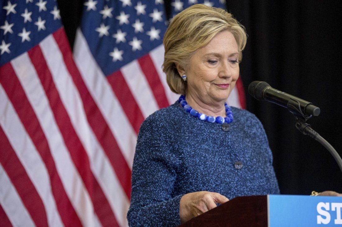 Democratic presidential candidate Hillary Clinton pauses while speaking at a news conference at Theodore Roosevelt High School in Des Moines, Iowa, Friday, Oct. 28, 2016. The FBI dropped what amounts to a political bomb on the Clinton campaign on Friday when it announced it was investigating whether new emails involving the Democratic presidential nominee contain classified information. (AP Photo/Andrew Harnik)