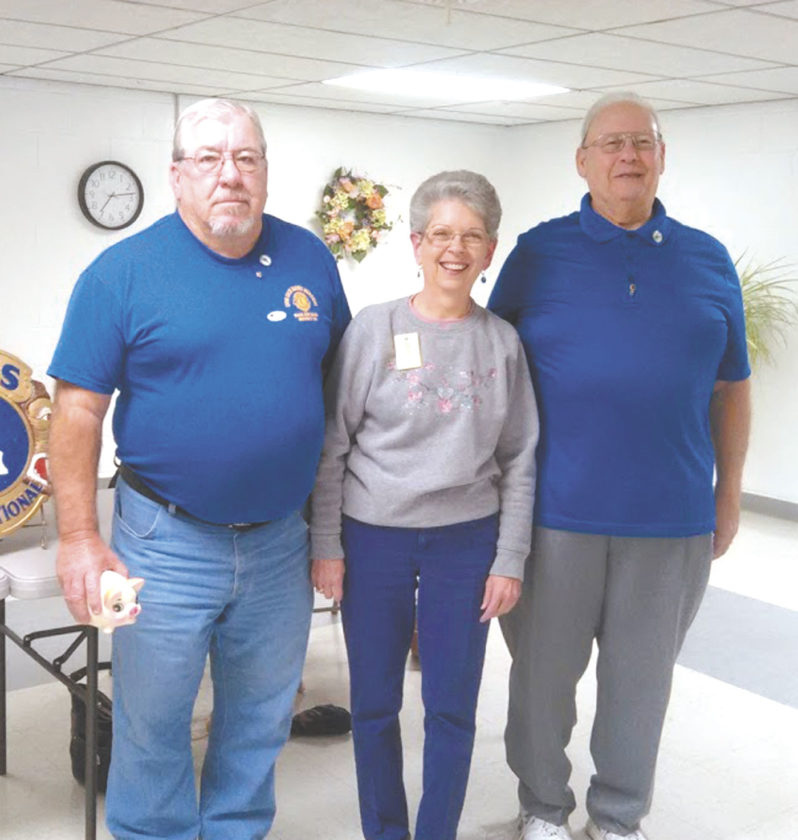 Past District Governor Eva Dague (center) presents Progressive Leonard Jarrett Awards to Lion Russ Flanigan (left) and Lion Bob Manypenny (right) for their work in the Dan Dague Memorial Car and Bike Show for Sight. (Submitted photo)