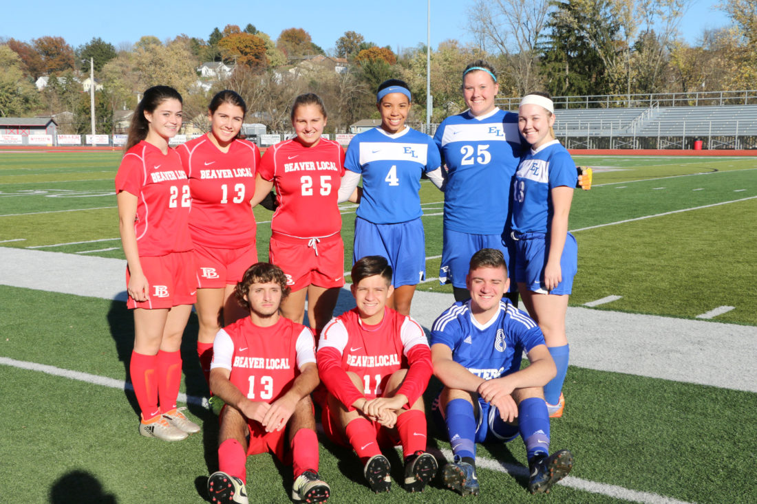 Five Beaver Local and four East Liverpool soccer players competed in the OVAC All-Star games on Sunday at St. Clairsville. Pictured are (front, from left) Marcus Watson, Reid Tice, Dylan Kidder; (back) Alanna Ice, Morgan Simmons, Taylor Wright, Jaybreona Foster, Lindsay Baker and Kaileigh Christy. (Submitted Photo)
