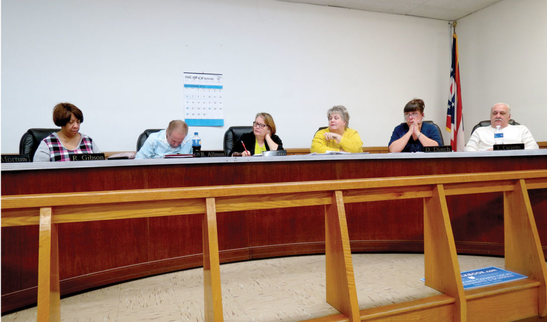 Members of Wellsville Village Council sat in chambers during Tuesday's Village Council meeting, following Mayor Nancy Murray's announcement that the village was placed by the State Auditor's office into fiscal emergency for an unprecedented third time. (Photo by Steve Rappach)