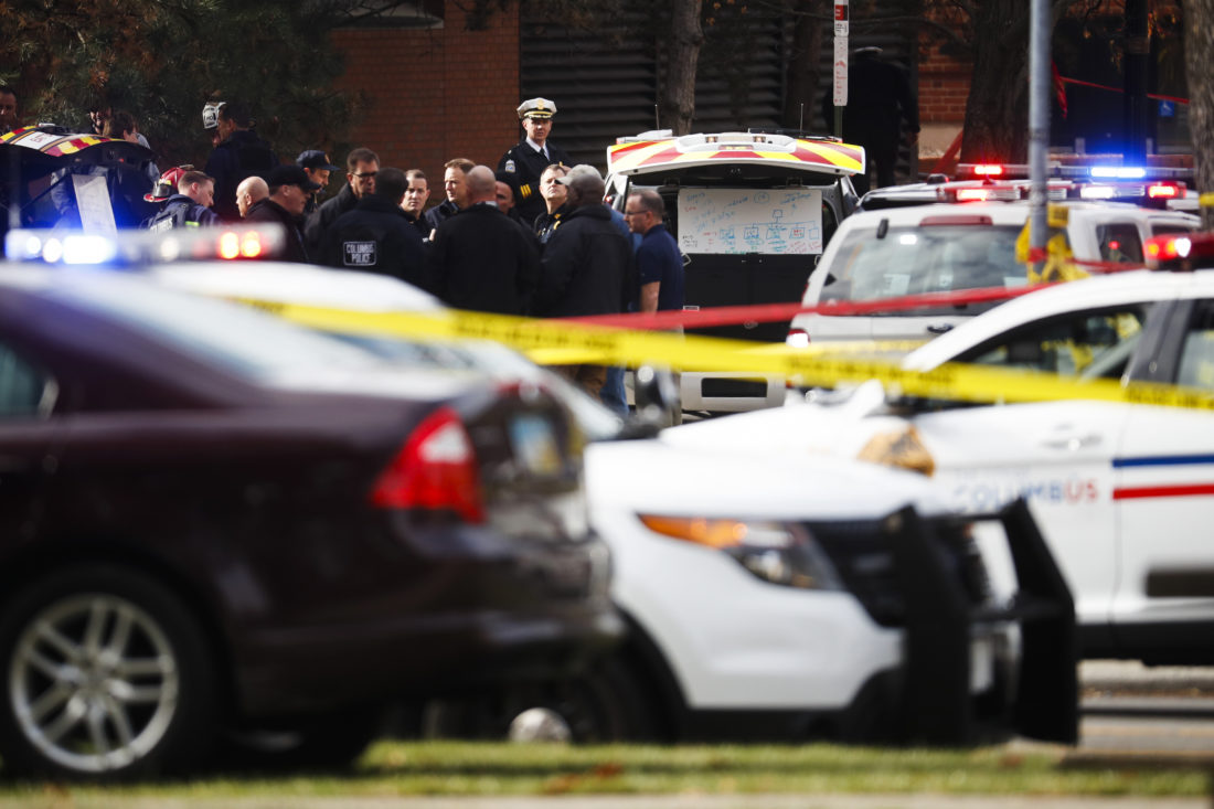Police respond to reports of a shooting on campus at Ohio State University, Monday, Nov. 28, 2016, in Columbus, Ohio. (AP Photo/John Minchillo)
