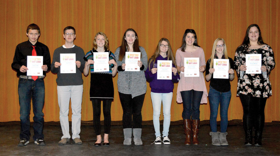 On Dec. 19, eight Oak Glen students participated in the Poetry Out Loud school contest in the high school's Little Theater. The eight finalists were selected from an initial round of classroom contests held in November: Jordyn Boyd, Morgan Harris, Baylee Jones, Gage Mackey, Caleb Minger, Annalise Murphy, Brooke Provenzano, and Jillian Reardon. (Submitted photo)