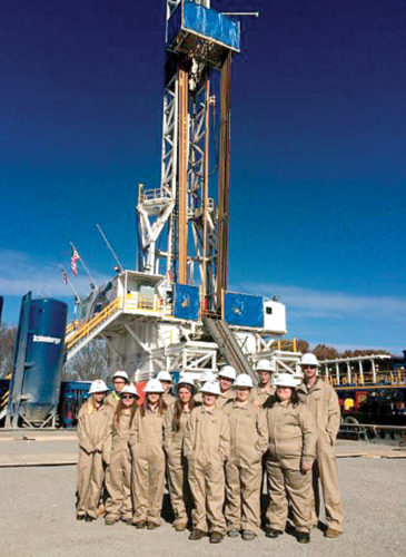 Students in the Utica Shale Academy have been gaining knowledge outside the classroom, including at the Ascent Resources well pad near Piedmont in Harrison County. Pictured are Taylor Cunningham, Drake Cunningham, Chloe Sorgeman, Takoda Kirkpatrick, Zach Robinson-Hunley, Travis Gruber, Brandy Lemasters, Cody Little, Joe Matheson, Faith Dickson, Jesse Dustin, Pachience Smith and USA Director Eric Sampson. (Submitted photo)