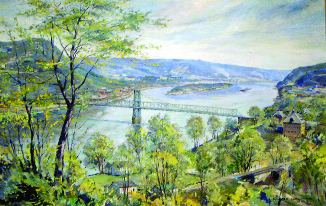One of many Hacker oil paintings of the Ohio River showing the old Chester Bridge as viewed from the hills above Newell.