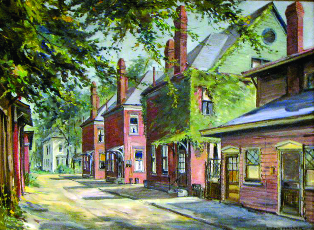 Oil painting of Thompson Place is owned by Mr. & Mrs. William L. Miller. This picturesque area formerly was located at the east end of Second Street in downtown East Liverpool at the Ohio entrance to the old Chester Bridge. That bridge was subsequently replaced with a new four-lane Jennings Randolph Bridge