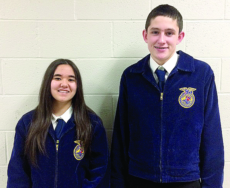 Southern Local High School FFA members Harmony Black and Dalton Frischkorn recently placed in two public speaking competitions at Norwayne High School in Creston. (Submitted photo)