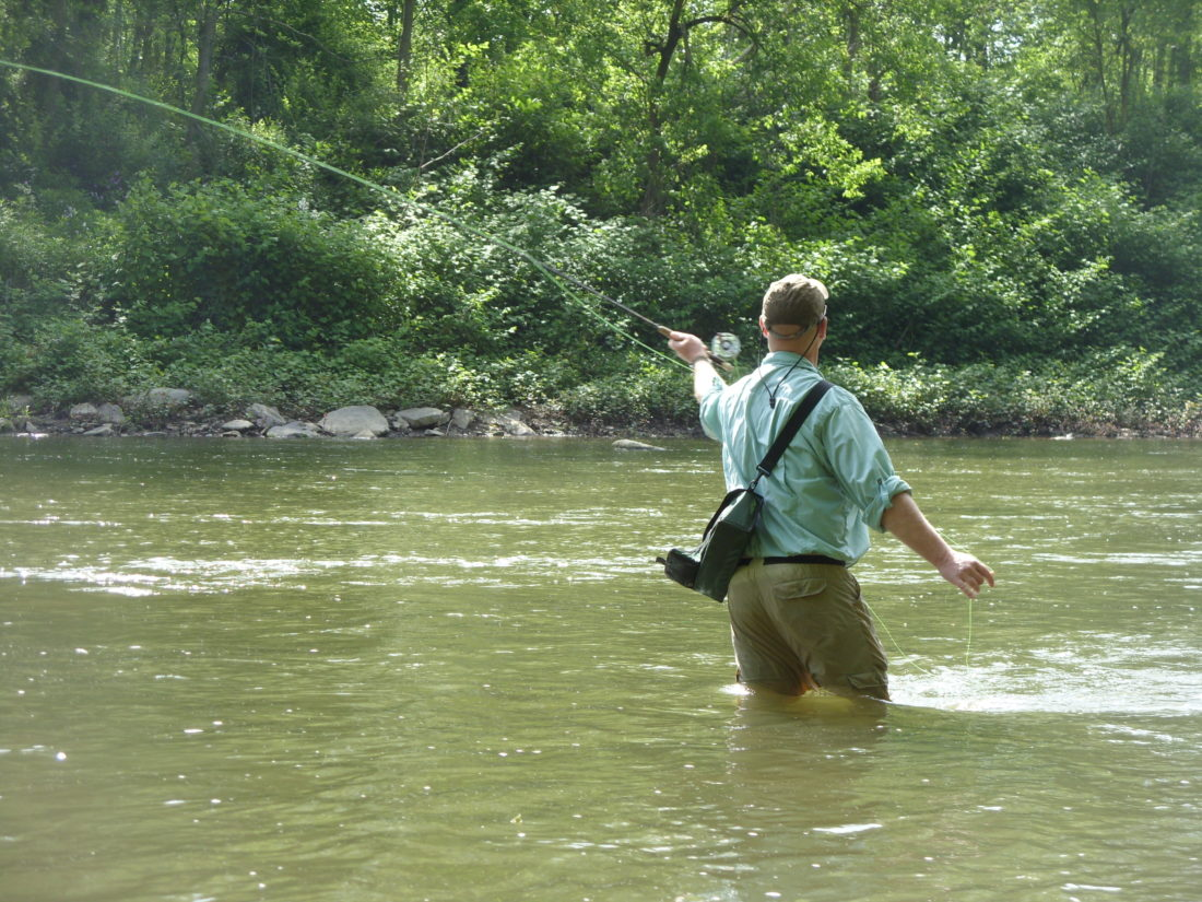 Craig Wetzel, shown fly fishing at Beaver Creek, will instruct fly fishing classes at the Center. (Photo by Larry Claypool)