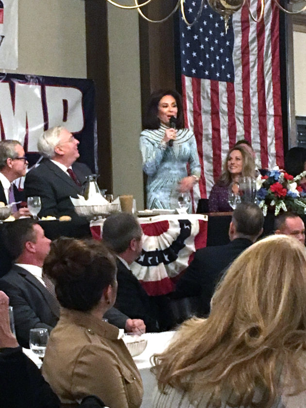 Jeanine Pirro addresses the Lincoln Day Dinner crowd. (Photo by Katie White)
