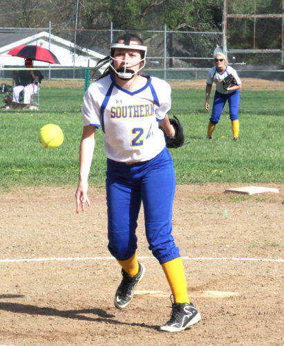 Southern pitcher Samantha Michael pitches against Wellsville on Tuesday. (Photo by Joe Catullo)