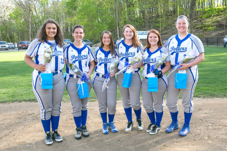 East Liverpool's softball team honored seniors (from left)Johnna Stokes, Kalyn Alford,Madison Prince, Cyna Burton, Emily Green and Lindsay Baker before the game against Oak Glen on Tuesday in Thompson Park. (Photo by Jimmy Joe Savage)