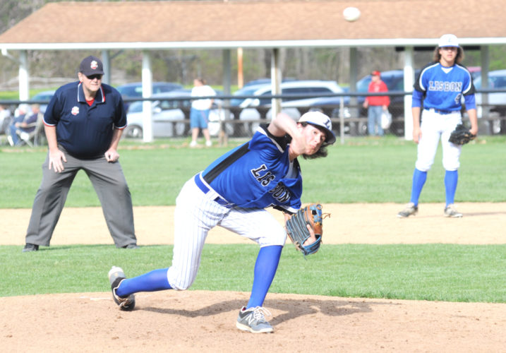 Lisbon's Logan Bell pitches against Columbiana on Thursday at Firestone Park. (Photo by Chris Rambo)