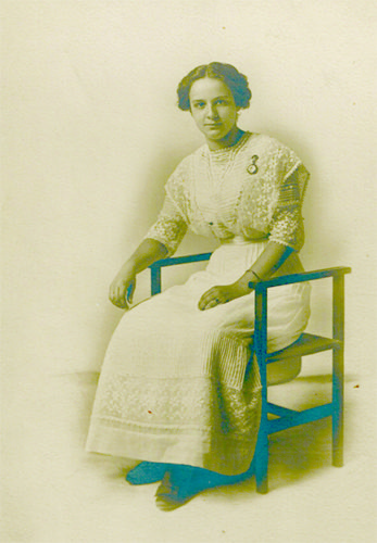 Miss Helen Fetters wishes to share this photograph of her mother, Fallopia Wertemberger-Fetters, posing on a toilet chair.