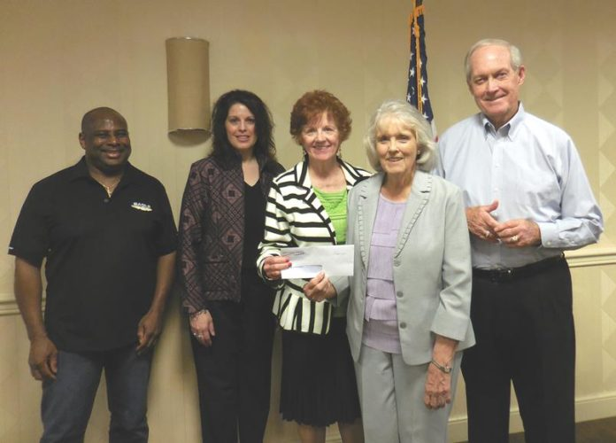 """Members of the Weirton-Wellsburg Chapter of Credit Unions donated to the """"Multiple Steps for MS"""" team for its annual  MS Walk, slated May 7 in Wheeling.  Pictured are (from left) Dan Dudley of Eagle Can EFCU, Tricia McGee of Hancock School Teachers FCU, Janet Stagani of the Weirton-Wellsburg Chapter of Credit Unions and Tin Mill Employees FCU, Marilyn Skidmore of Multiple Steps for MS, and John Thayer of First Choice America Community FCU. (Submitted photo)"""