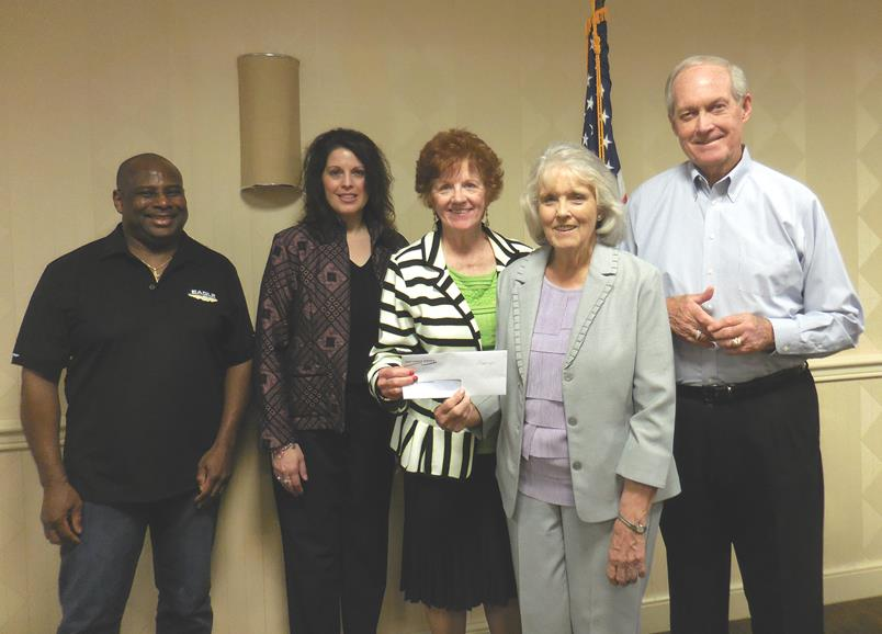 "Members of the Weirton-Wellsburg Chapter of Credit Unions donated to the ""Multiple Steps for MS"" team for its annual  MS Walk, slated May 7 in Wheeling.  Pictured are (from left) Dan Dudley of Eagle Can EFCU, Tricia McGee of Hancock School Teachers FCU, Janet Stagani of the Weirton-Wellsburg Chapter of Credit Unions and Tin Mill Employees FCU, Marilyn Skidmore of Multiple Steps for MS, and John Thayer of First Choice America Community FCU. (Submitted photo)"