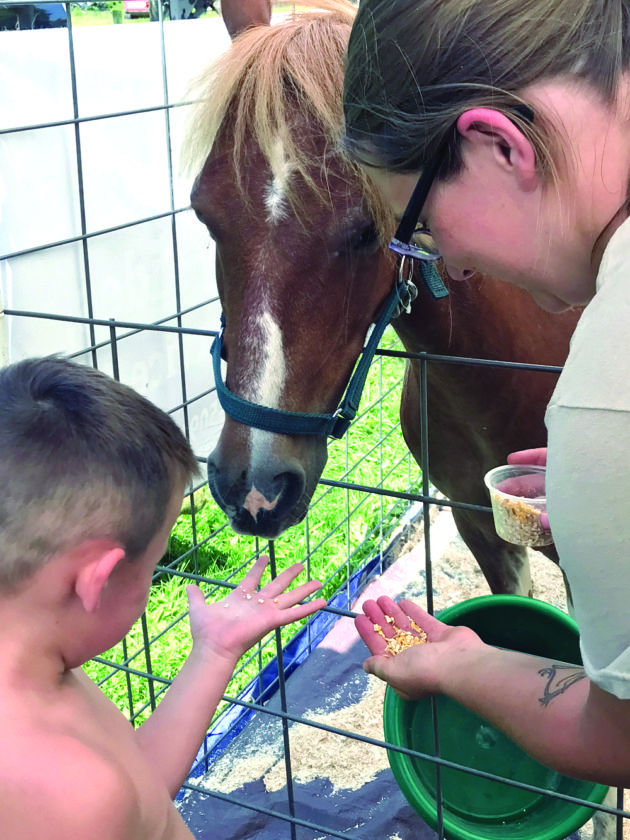 Stephanie Palmer of Broken Smile Farm shows 4-year-old Chase Thompson the proper way to hold his hand flat while feeding a treat to Trigger the pony during a petting zoo in Elkton. The Broken Smile Farm has a variety of animals it brings for petting zoos, where their lifestyles are explained. (Photo by Jo Ann Bobby-Gilbert)