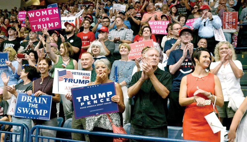 Supporters of President Donald J. Trump show their support during Tuesday's rally at the Covelli Centre in Youngstown. (Photo courtesy of R. Michael Semple)