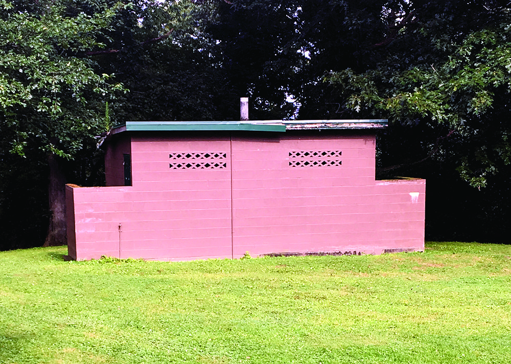 Following the recommendation of the superintendent, this restroom facility behind pavilion no. 1 at Thompson Park is set to be demolished. (Photo by Steve Rappach)