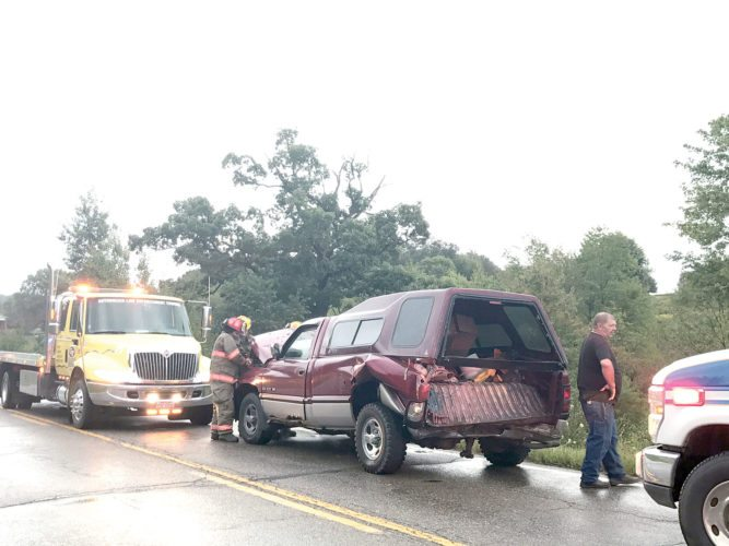 The driver of this pickup truck was cited following a three-vehicle crash in Calcutta Thursday evening. (Photo by Jo Ann Bobby-Gilbert)