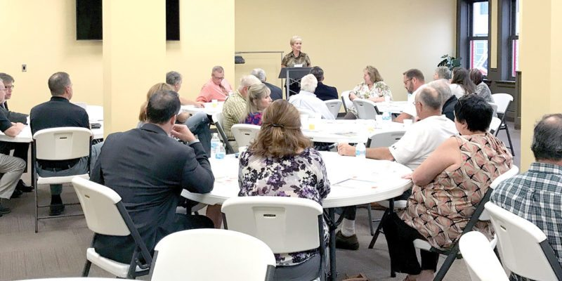Business leaders gathered Thursday morning in the New Castle School of Trades Community Room in East Liverpool for a Sunrise Business Breakfast and a presentation about the new Market Street Lofts project under construction. (Photo by Jo Ann Bobby Gilbert)