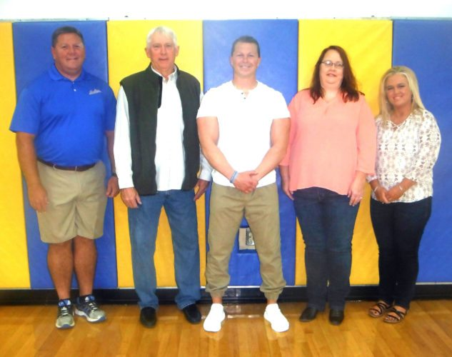 Inducted into the Salineville-Southern Local Hall of Fame on Saturday were (from left) Kip Dowling, George Williams, Michael Skrinjar, Holly Wilson representing her father JohnWilson (posthumously), and Tonya Smith Kendrick. (Submitted photo)