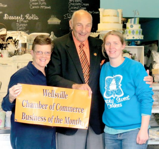 Pictured (from left) are Sheryl Gibson, chairman Paul Blevins, and Simply Sweet Cakes owner/operator Ashley Haddox (Photo by Steve Rappach)