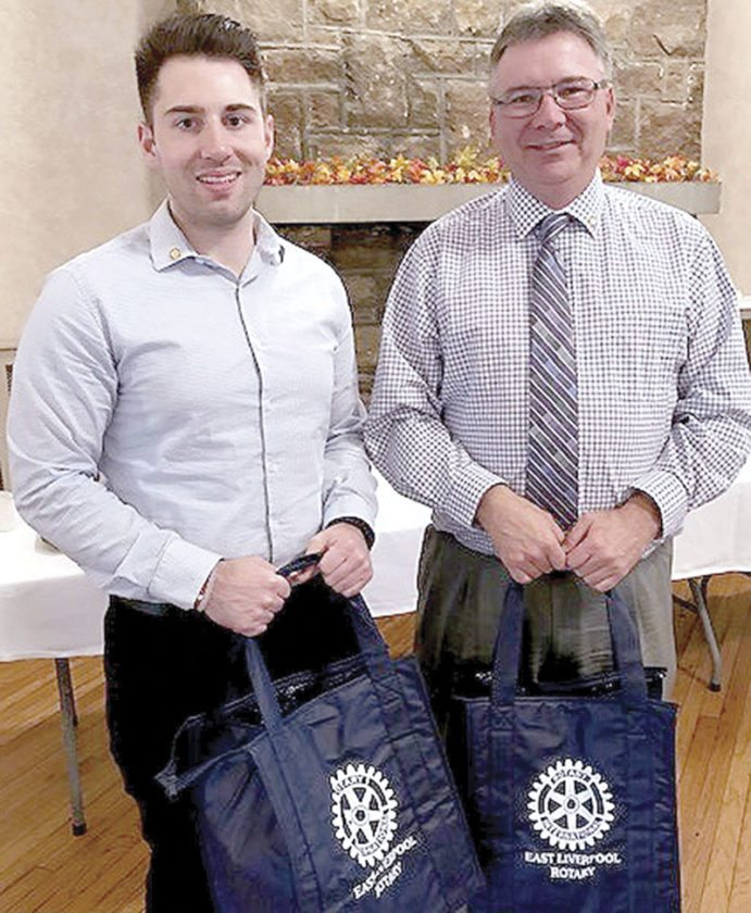 Larry Schromofsky (left) of Miller, Stacey and Associates Inc. and Scott Lockhart  of Hancock County Savings Bank are new members of the East Liverpool Rotary Cub. (Submitted photo)
