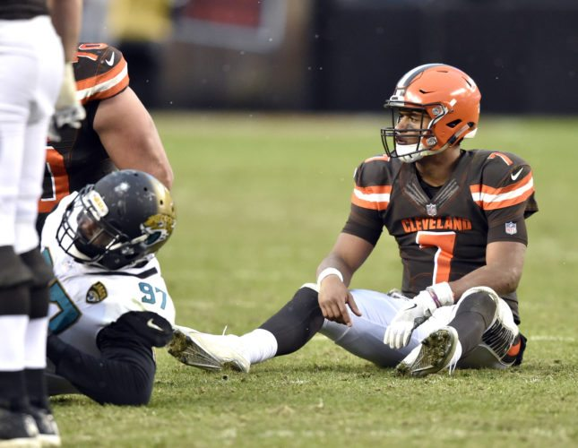 Cleveland Browns quarterback DeShone Kizer (7) sits on the field after an incomplete pass in the second half of an NFL football game against the Jacksonville Jaguars, Sunday, Nov. 19, 2017, in Cleveland. (AP Photo/David Richard)