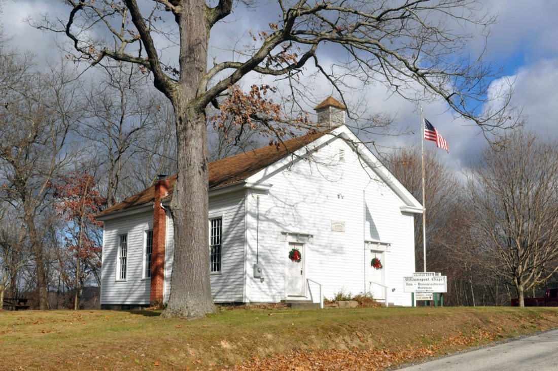 The Friends of Williamsport Chapel will host its annual Christmas caroling event, 7 p.m. Saturday, Dec. 2, at the chapel, located along Leslie Road, off state Route 7 (six miles south of Rogers). The chapel was built in 1869, and is open 9 a.m. every Sunday, as well as 7 p.m. Christmas Eve. As in the 1800s, the speakers/pastors are different almost every week. (Submitted photo)
