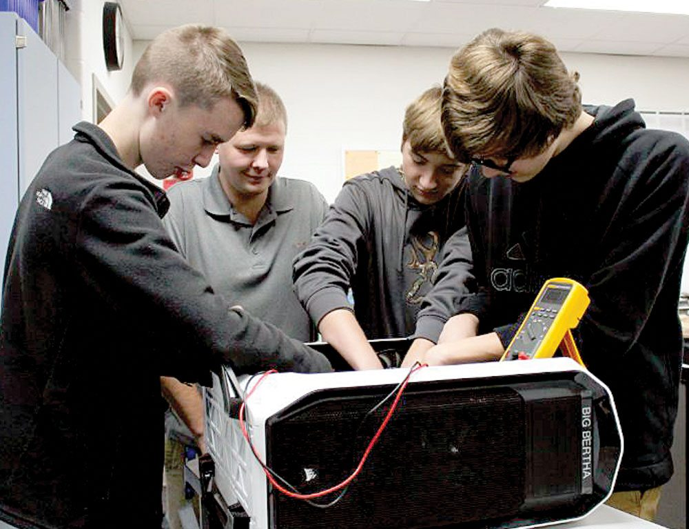 Southern Local High School students Curtis Ebert, Nathan Ward and Gary Naylor have assisted district Technology Director Josh Manist for the past school year as interns with the Technology Entrepreneurs Club (TEC) at the school. (Submitted photo)